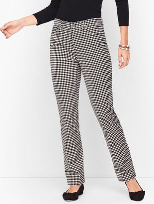 Velveteen Straight Leg Pants - Curvy Fit - Gingham