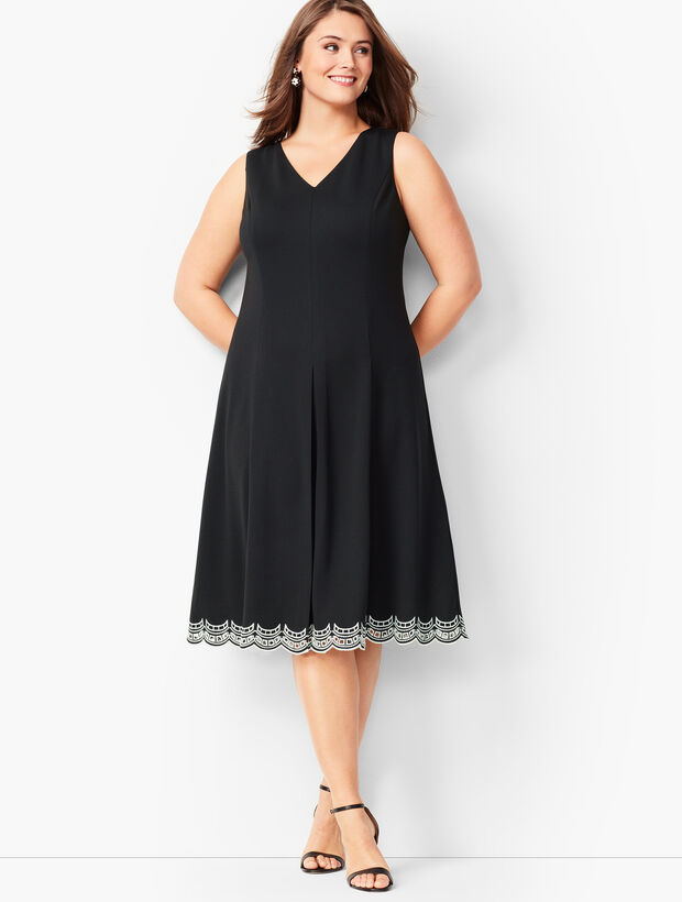 Embroidered Ponte Fit & Flare Dress