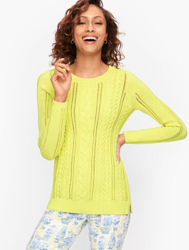 Pointelle Cableknit Sweater