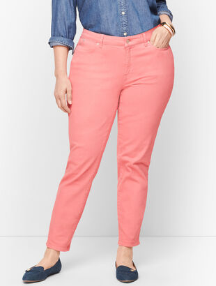 Slim Ankle Jeans - Garment Dyed Dusty Peach - Curvy Fit