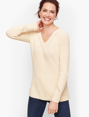 V-Neck Shaker Stitch Sweater