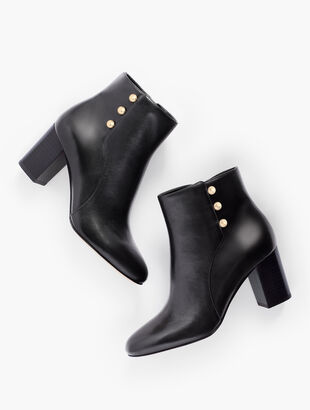 Lilia Side-Button Booties - Vachetta Leather