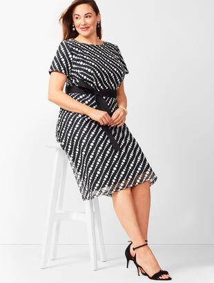 Diagonal Lace Fit & Flare Dress