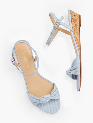 Capri Knot Mini Wedge Sandals - Linen Shimmer