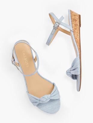Capri Knot Mini Wedge Sandals - Linen Shimmer