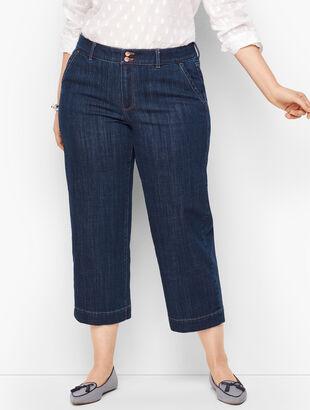 Wide-Leg Crop Jeans - Deep Azure