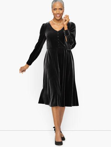 Billow Sleeve Velour Fit & Flare Dress