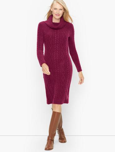 Cable Knit Cowlneck Shift Dress