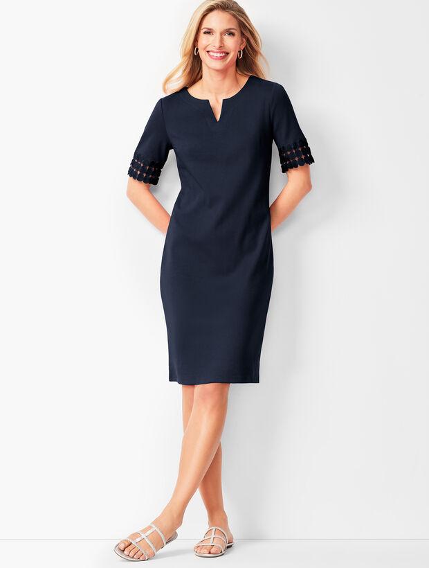 e2461ab37 Lace-Trim Cotton-Knit Shift Dress | Talbots