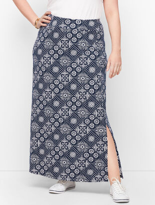 Jersey Wrap Maxi Skirt - Bandana Print