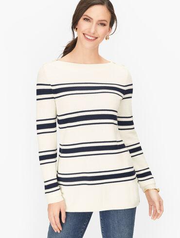 Basket Weave Sweater - Stripe