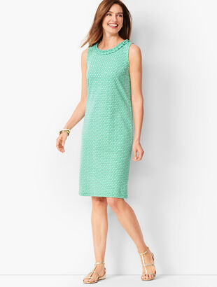 Pleat-Neck Shift Dress - Diamond-Print