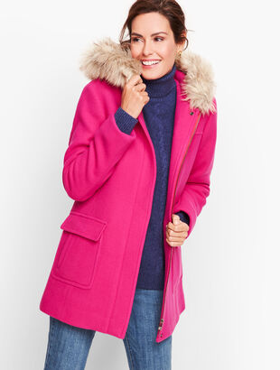 Faux-Fur Trim Wool Jacket - Albury Italian
