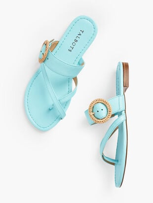 Gia Rattan Buckle Sandals - Nappa