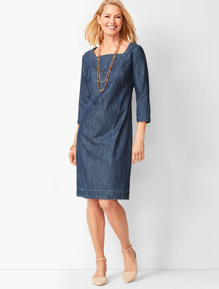 Square-Neck Denim Shift Dress