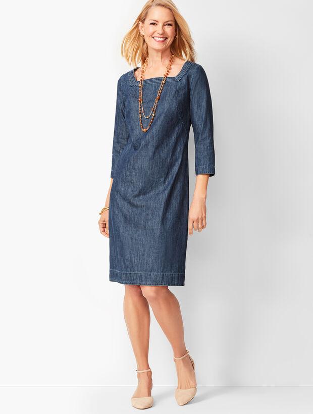 Square-Neck Denim Shift Dress