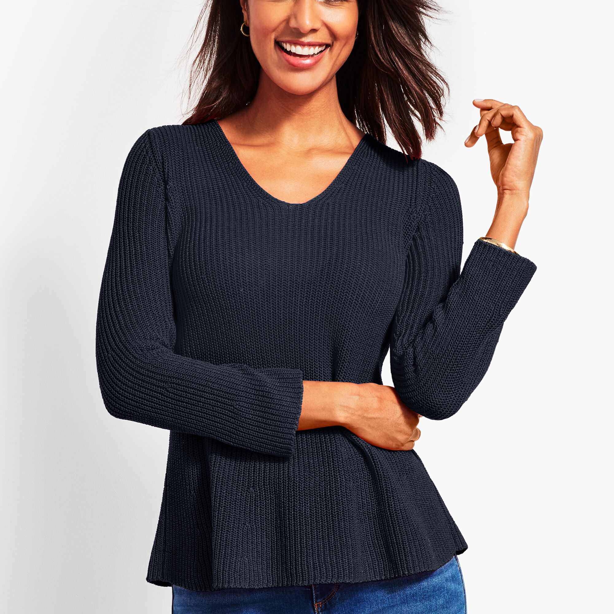 08dd9f250361 Shaker-Stitch Flounce Sweater
