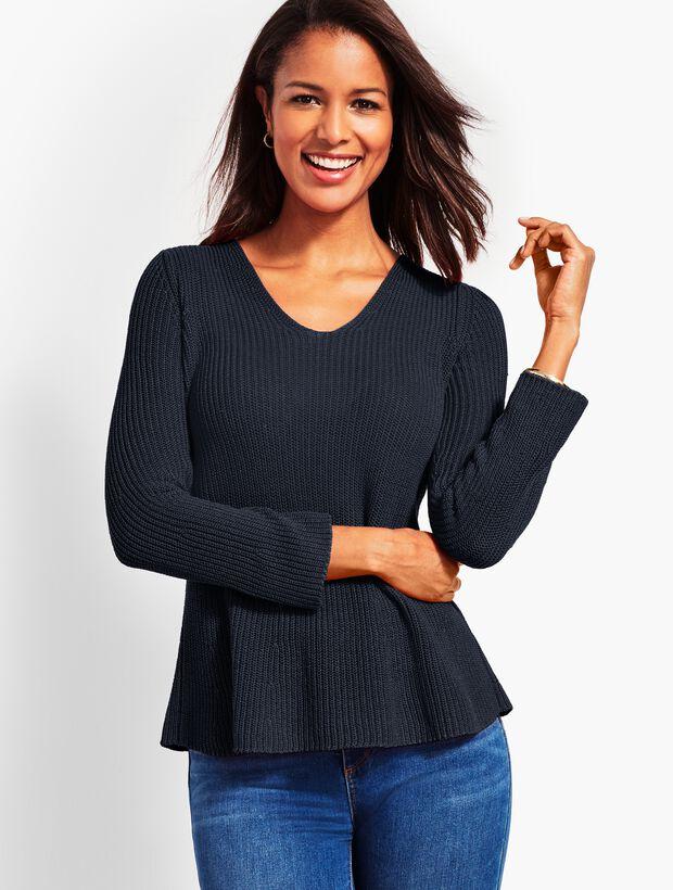 Shaker-Stitch Flounce Sweater