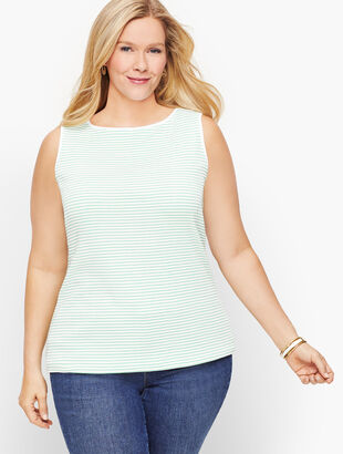 Cotton Bateau Neck Tank - Stripe