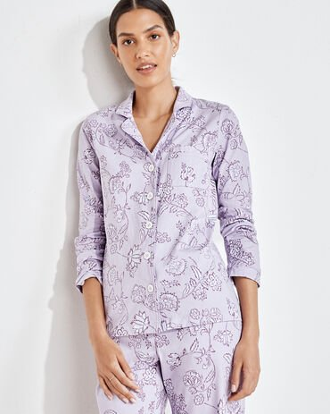 Organic Cotton Jersey Floral Vine Pajama Shirt