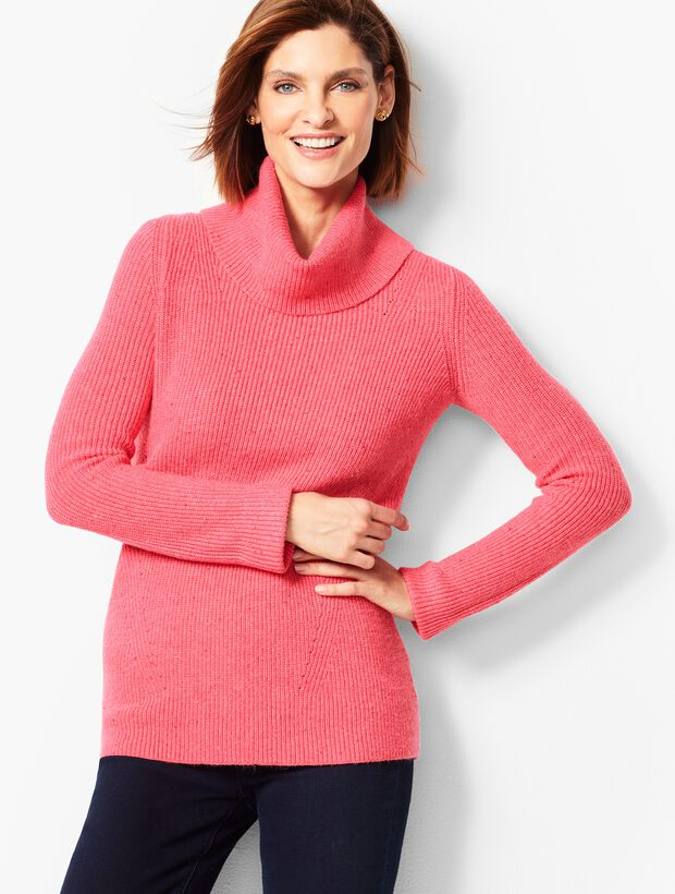 Tweed Shaker-Stitch Cowlneck Sweater