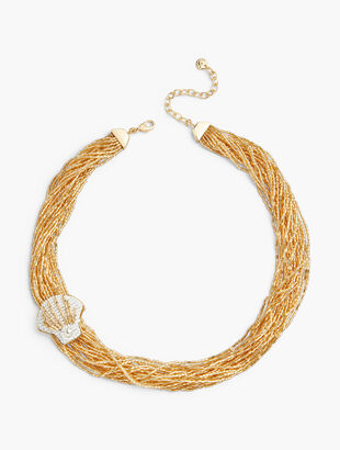 Beaded Shell Torsade Necklace