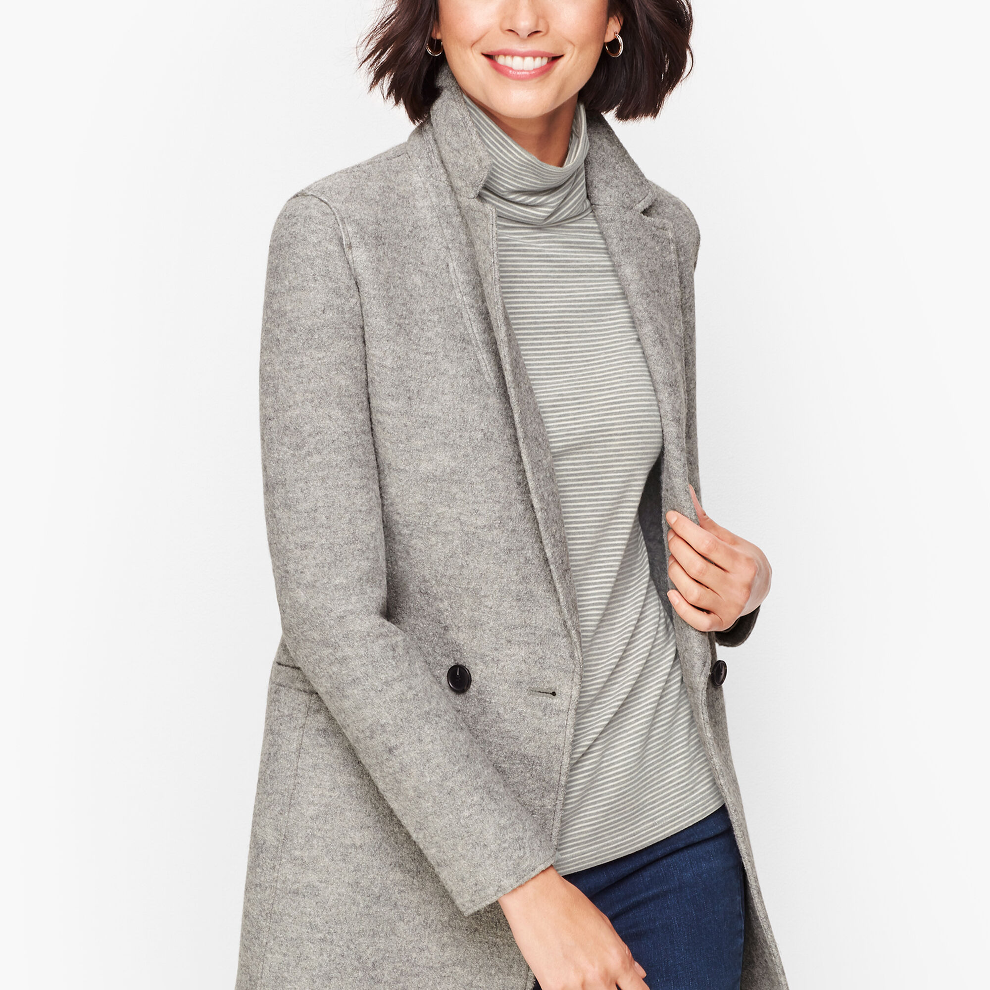 online good texture Buy Authentic Long Boiled Wool Jacket