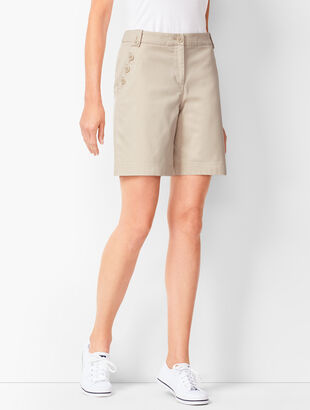Button-Pocket Twill Shorts