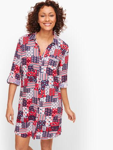 Crinkle Cotton Beach Shirt - Nautical