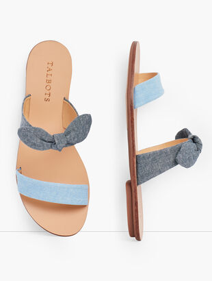Hannah Knotted Slides - Chambray