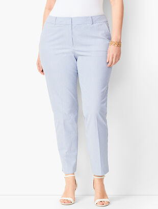 Plus Size Seersucker Slim Ankle Pants - Curvy Fit