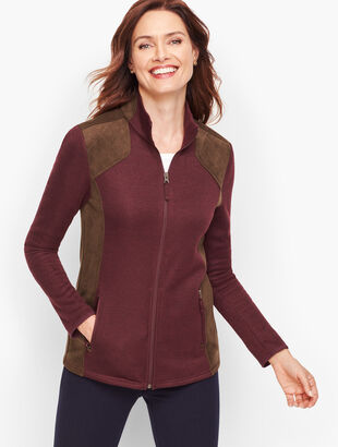 Faux Suede Trim Fleece Jacket
