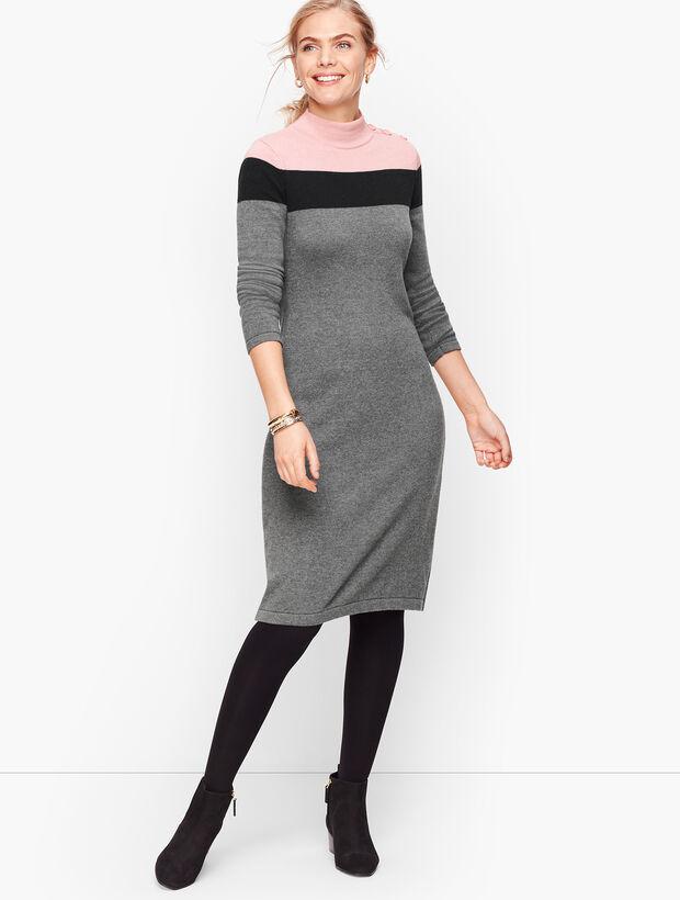 Mockneck Colorblock Sweater Dress
