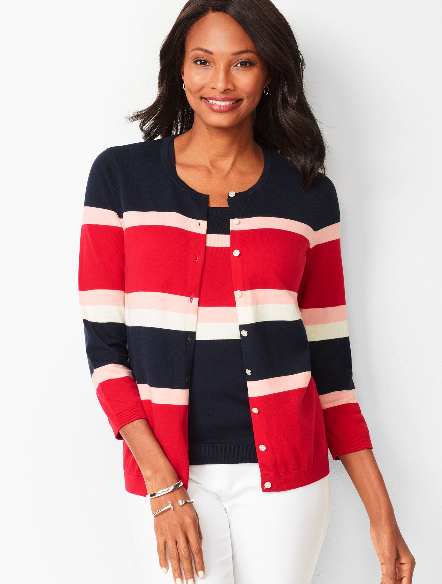 Charming Cardigan , Three,Quarter Sleeves , Colorblock