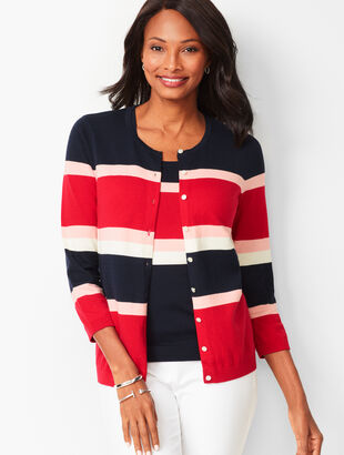 Charming Cardigan - Three-Quarter Sleeves - Colorblock