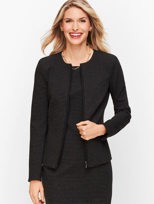 Italian Luxe Knit Stripe Zip-Front Jacket - Stripe