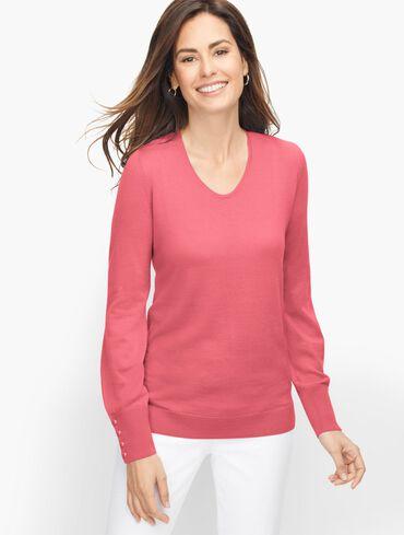 Soft Merino V-Neck Sweater - Solid