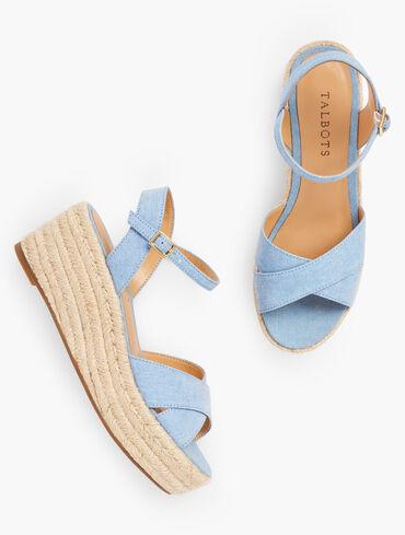 Natalie Canvas Platform Wedge Sandals - Chambray