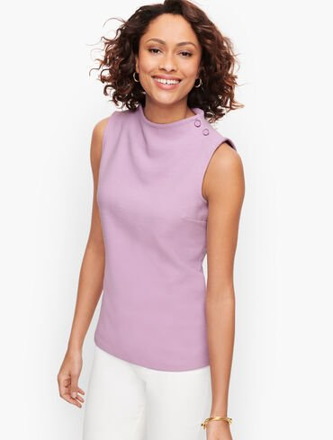 High Neck Button Shoulder Shell - Solid