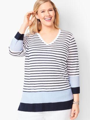 Blocked-Stripe Linen Sweater