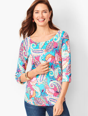 Textured Cotton Button-Tab Sweater - Paisley