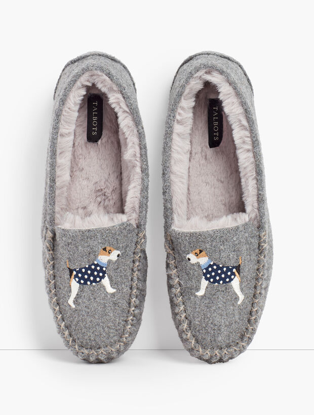 Ruby Shearling Lined Moccasin Slippers - Embroidered Dog
