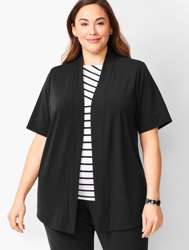 Plus-Size Knit Jersey Open Cardigan