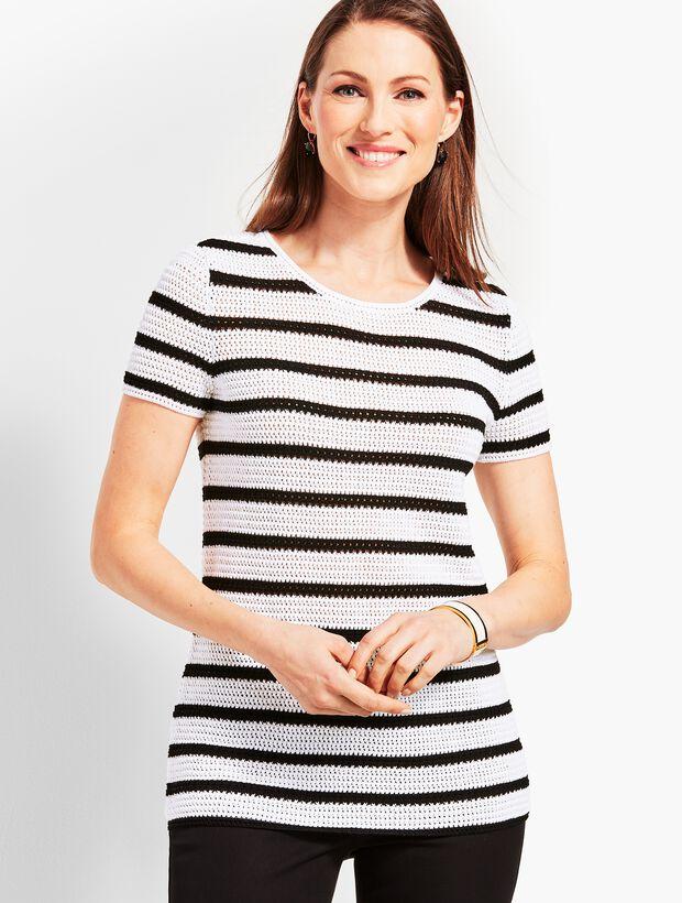 Crochet-Stripe Crewneck Sweater