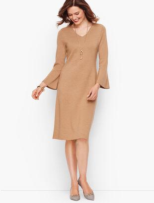 Merino Flounce Sleeve Sweater Dress