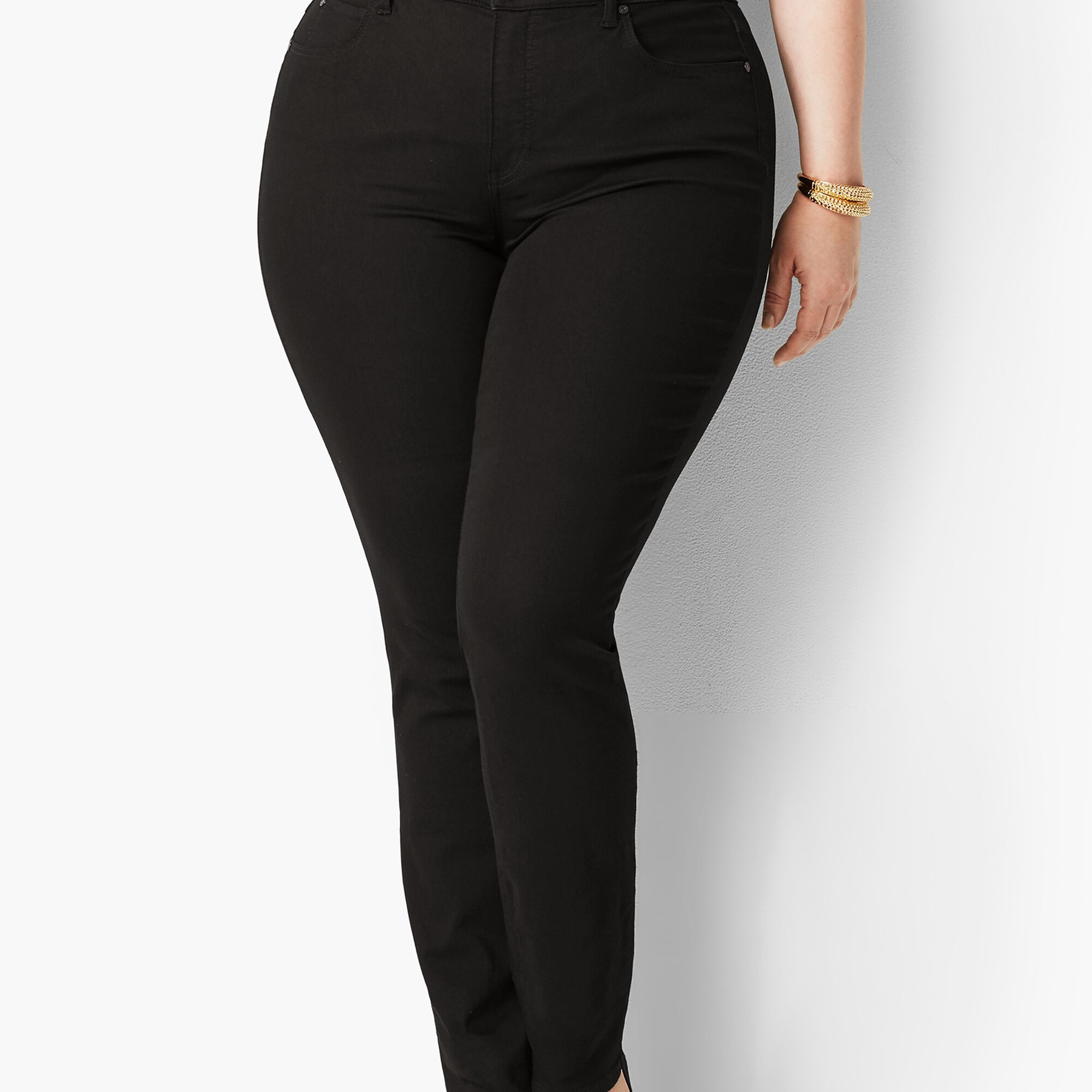 94b9cba3ebc Plus Size Exclusive High-Waist Straight-Leg Jeans - Black Opens a New Window .