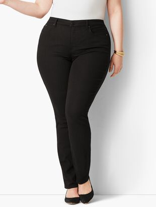 Plus Size High-Waist Straight-Leg Jeans - Black