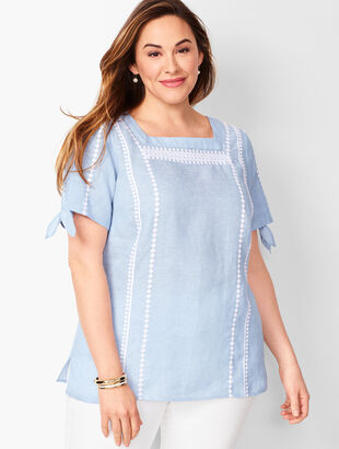 Square-Neck Embroidered Linen Top - Cross Dyed