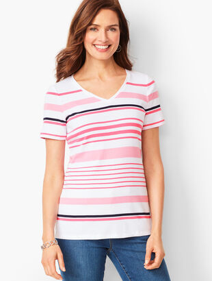 Cotton V-Neck Tee - Multi-Stripe