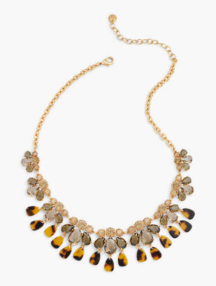 Tortoise & Crystal Statement Necklace